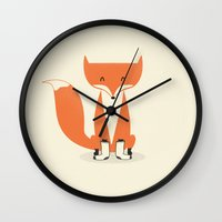 socks Wall Clocks featuring A Fox With Socks by Zach Terrell