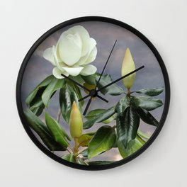 White Magnolia Tree Wall Clock