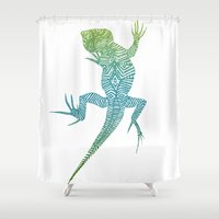 lizard Shower Curtains featuring Lizard by Madame Hoareau