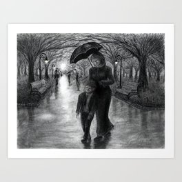 Untitled - charcoal drawing - mother, son, family, park, rainy day, umbrella, silhouette Art Print
