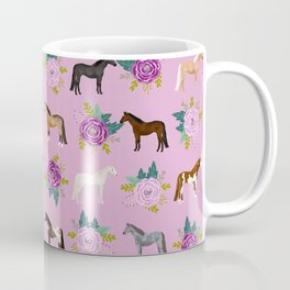 horse, floral, florals, flowers, pink, flowers, bloom, horse, horse bedding, horse blanket, horse, p Coffee Mug