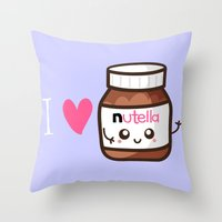 nutella Throw Pillows featuring Love Nutella by Kleviee