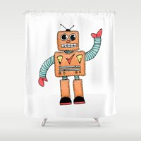 robot Shower Curtains featuring Robot by Lindsay Anne Design