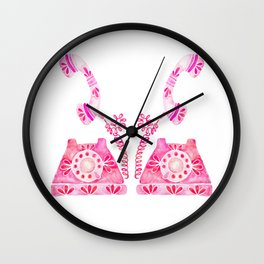 Vintage Rotary Phone – Pink Palette Wall Clock