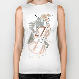 Cello Player Musician Expressive Drawing Biker Tank