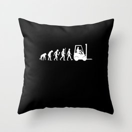 Funny Logistic Evolution Forklift Driver Gift Idea Throw Pillow