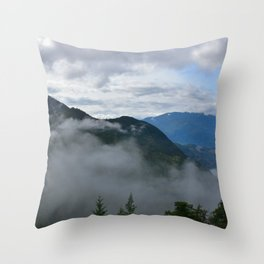 British Columbia morning in the mountains and fog Throw Pillow