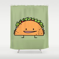 taco Shower Curtains featuring Happy Taco by Berenice Limon