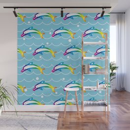 Rainbow Dolphin on the Sea Wave_C Wall Mural