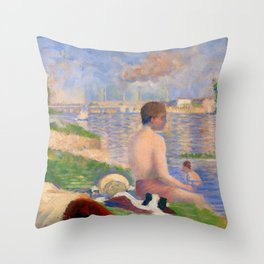 "Georges Seurat ""Final Study for Bathers at Asnières"" Throw Pillow"
