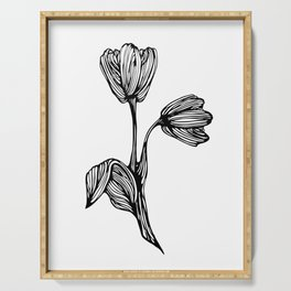 black and white flower drawing Serving Tray