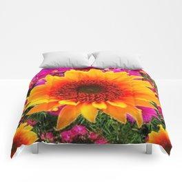 ABSTRACT GOLD SUNFLOWER FLOWERS ART Comforters