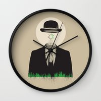 magritte Wall Clocks featuring Magritte | The Loading of Man by Gabriel Mihai | SnakeBishop