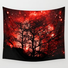 black trees red space Wall Tapestry