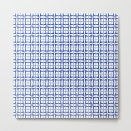 Squares and triangles pattern blue Metal Print