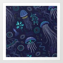 Into the Deep Jellies - Navy Art Print