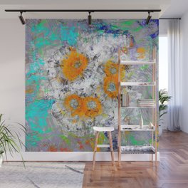 Abstract Floral Mixed Media Watercolor Ink Painting , orange & aqua Wall Mural