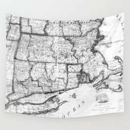 Vintage Map of New England States (1843) BW Wall Tapestry