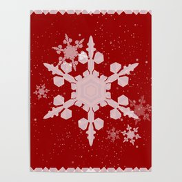 Snow Falls - Red Poster