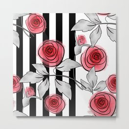 Red roses on black and white striped background. Metal Print