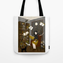 floating books Tote Bag