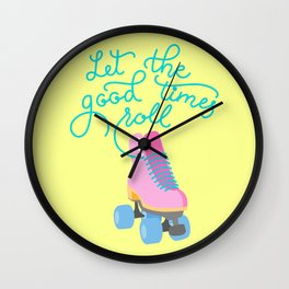 Let The Good Times Roll (Yellow Background) Wall Clock