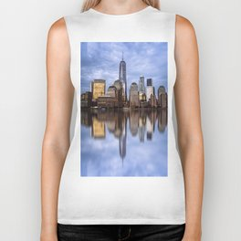 Cityscape of Financial District of New York Biker Tank