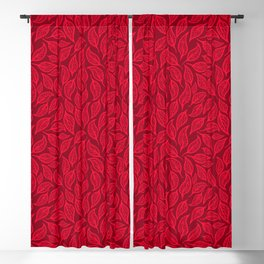 V.18 - Striated Leaves - Fine Vermilion Blackout Curtain