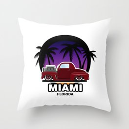Miami muscle car Throw Pillow