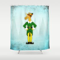 elf Shower Curtains featuring Elf Unicorn by That's So Unicorny
