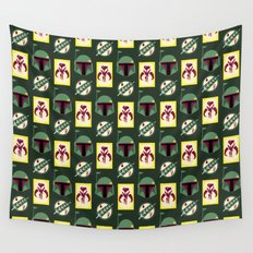 Boba Fett Mandalorian Symbols on Green Wall Tapestry