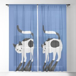 Abstraction_CAT_BLUE Sheer Curtain