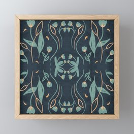Floral Symmetry Pattern in Deep Blue And Teal Framed Mini Art Print