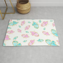 Pretty pink teal gold watercolor cute butterfly Rug