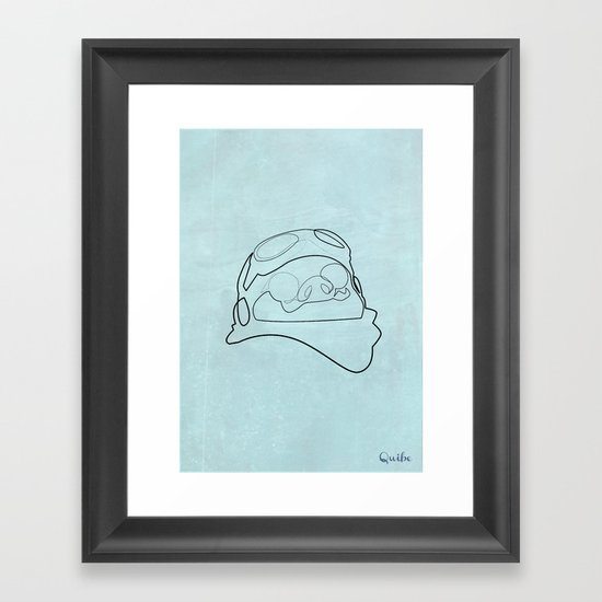 One line Porco Rosso (blue) Framed Art Print