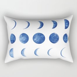 Blue Moon Phases | Watercolor Painting Rectangular Pillow