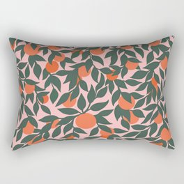 Oranges and Leaves Pattern - Pink Rectangular Pillow