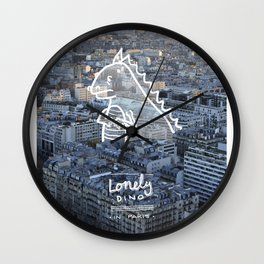 Lonely Dino - in Paris Wall Clock