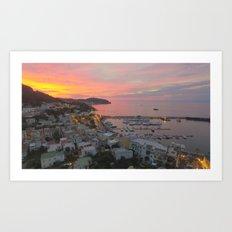 A sunset on the island of Ischia Art Print