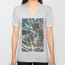 Abstract teal yellow paint splatters gray marble Unisex V-Neck