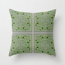 Green Crystal Tiles Throw Pillow