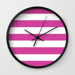 Barbie Pink (1975-1990) - solid color - white stripes pattern Wall Clock
