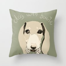 dog with bowtie Throw Pillow
