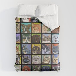 Cats and Dogs in Black Comforters