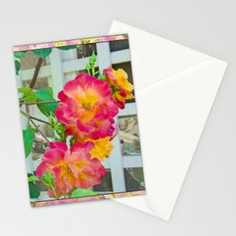TROPICANA ROSE ON WHITE LATTICE Stationery Cards