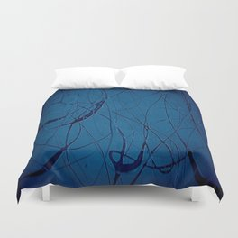 Navy Blue - Jackson Pollock Style Art - Abstract - Expressionism - Modern Duvet Cover