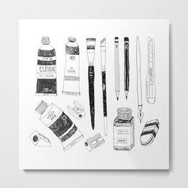 Hand drawn art tools. B&W #1 Metal Print