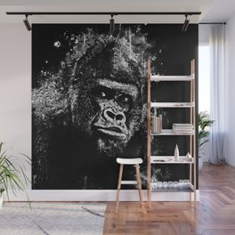 gorilla monkey face expression wsbw Wall Mural