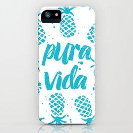 Pura Vida Pineapples in Blue iPhone Case