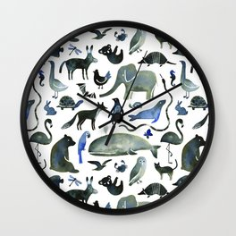 Animals in Black (and blue) Wall Clock